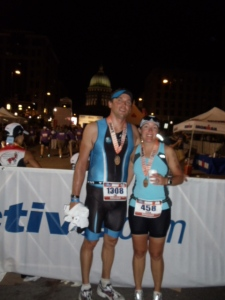 My husband and I right after finishing Ironman Wisconsin 2011.  What a long day :)
