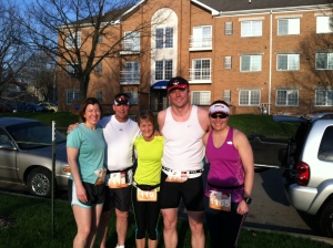Pre-Race Photo:  Tracy, Jeff, Deb, my handsome gent and me