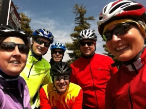 Kris, Allen, Ed, Tim R, my husband and me early on in the ride.
