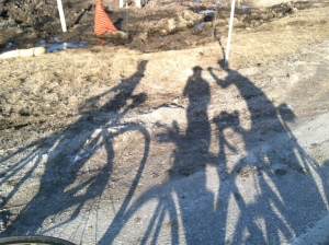 The shadows of three amazing riders...Kris, me and my husband.