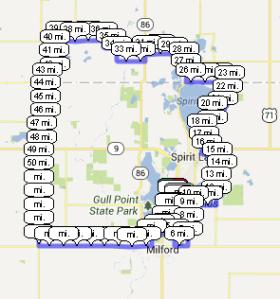 70 mile bike route surrounding the Iowa Great Lakes area, including Iowa and Minnesota saddle time.
