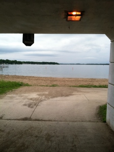 Running through the tunnel under highway 71.  As we exit the tunnel, we have a great view of West Lake Okoboji.