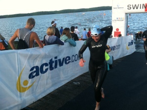 39:05 swim for 1.2 miles in rough water...YAY!!  PR number one for the day...