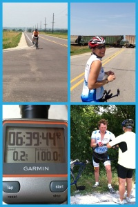A few awesome hill climbs scattered throughout the ride provided for some amazing scenery!!  We did have a train that we had to wait for as well as a flat tire (by my husband), but we finished our 100 miles in style!!