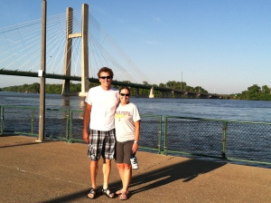 My husband and me down at the Port of Burlington along the Mississippi River looking into Illinois.