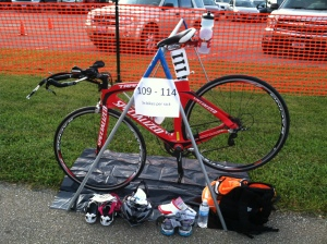 I was the first one in the transition area for my bike rack, so I got the luxury of picking my transition spot and chose right on the end of the rack.  This turned out to be a great location!!