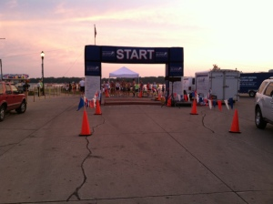 The start of the Okoboji Marathon at 6 am had about 80 people racing...there is a reason so few people race the marathon...