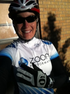 Decked out in my arm warmers and full fingered gloves ready to ride around central Iowa in July.