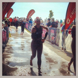 I had plenty of time to remove my wetsuit while running down the long entrance into transition.