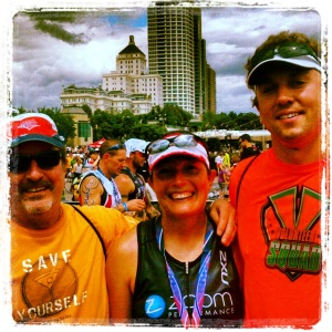 Dad, my husband and me after the race...Thanks for making the trip to Milwaukee Dad!!  Love you!!