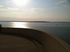 A beautiful start to our run...running down the helix at Monona Terrace to the lake front.