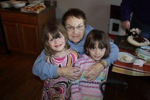 Lunch with the family (Great Grandma and my twin nieces)