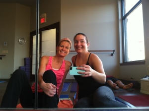 Starting Thanksgiving Day off right with a great friend at hot yoga.  Felt great to sweat :)