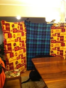 Three finished fleece blankets made Thanksgiving evening