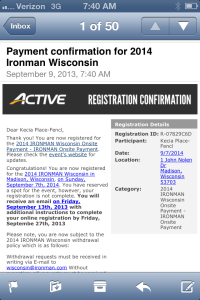 Registration confirmation for IRONMAN Wisconsin 2014