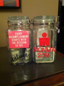 Here are our two motivational $ jars.  Our names are on the tops of the jars.