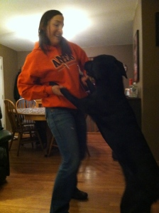 Basil dancing with me and celebrating!!