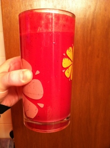 beets, mixed berries (sometimes just blueberries), oj, cinnamon, agave and egg white protein powder