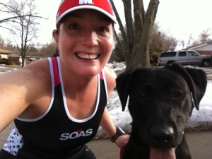 Basil is ready to run!!  Yes...I am wearing a tank top and there is still snow on the ground.  I was dressed perfectly for this outdoor run.