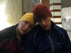 Our friend Mike and I getting ready to go catch a bus out to Hopkinton...it is way too early for this!!