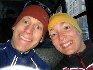 Mike and I on the bus out to Hopkinton...there is no turning back now!!