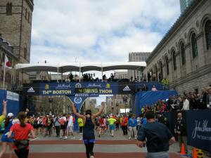 I made it...the finish line of the Boston Marathon :)