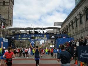 I made it...the finish line of the Boston Marathon :)