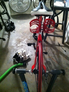 Puddles of sweat on the floor next to the bike = good workout.
