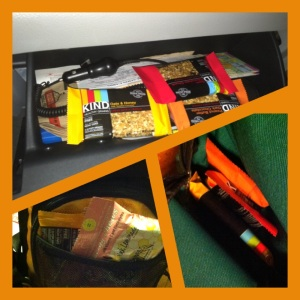 Kind granola bars in the glove box, gym bag, hot yoga bag, etc.