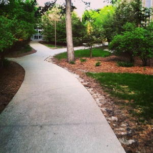 Riding through a very peaceful campus with nobody around.