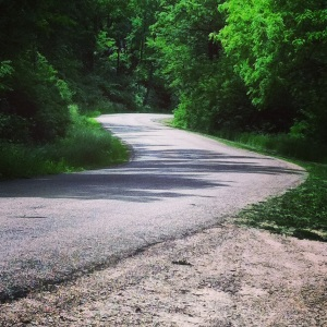 Looking down Old Sauk...I love climbing hills when you can't see the top :)