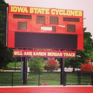 "My new running ""home"" for a while will be at the ISU track where I can line run."