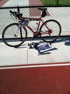 I rode Molly the Raleigh to the track for my morning run.