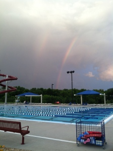 A beautiful double rainbow over the pool as we arrived to swim.