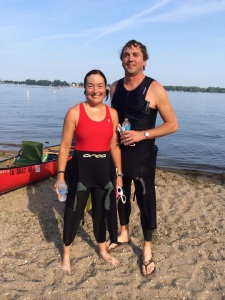 "Photo courtesy of L. Bierbaum:  The Iron Hippie and I successfully finished our 3.5 mile swim ""race"""