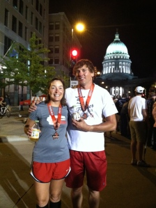 Drinking our Karma Kombucha while we wait for the last Ironman finishers to come down the finish shoot.