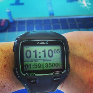 3500 yard swim...in sets of 3x1000. Not my ideal pace, but it gives me room for improvement.