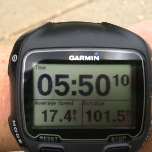 We hit 100 mile in 5:43:00 for an average speed of 17.5 mph. This was almost a 45 minute PR for 100 miles :)