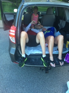 Allen, Sam and I in the back of my vehicle. Photo courtesy of Lora