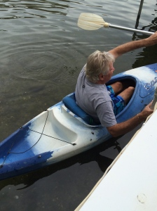 Tom is in his kayak ready for me to swim.