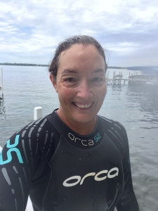 Feeling so great after 2.6 miles of open water swimming at an average pace of 1:52/100 yards.