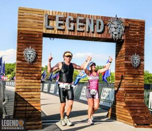 Finishing the Legend 100 hand-in-hand with the Iron Hippie. Photo courtesy of Legend Endurance
