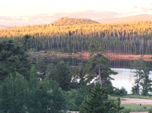 The morning sunrise on the mountains at Red Feather Lakes, CO.