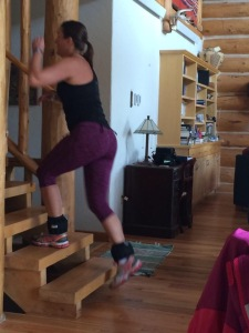 Step-ups with ankle weights