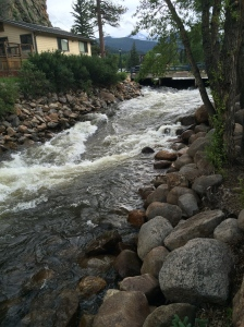 A stream that runs through Estes Park's downtown area.
