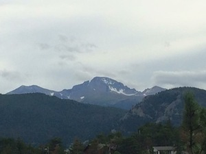 The view of Longs Peak from our patio in Estes Park, CO.
