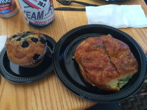 Veggie Croissant Sandwich and Blueberry Muffin for breakfast...YUMMY!!