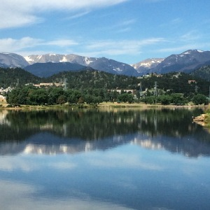 The view from the path around Lake Estes, CO.