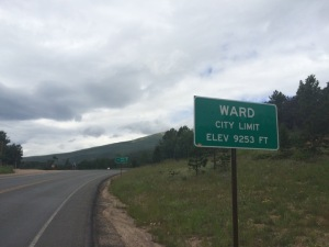 Ward, Colorado was our turn around point for the Peak to Peak Highway ride.