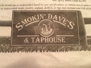 Smokin' Dave's for dinner. I had a burger with sweet potato fries.